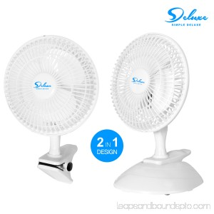 6 2-Pack 2-Speed Adjustable Tilt Whisper Quiet Commercial Clip-On-Fan by Simple Deluxe