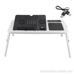 Adjustable lapt op Table With Cooling Fan With Mouse Pad Adjustable Foldable lapt op Notebook Computer Table Cooler Bed Tray Radiating Cooling Stand With Cooling Fan Mouse Pad, White & Black