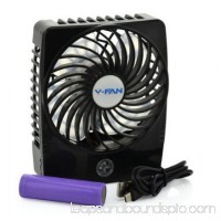 """e-joy Mini USB 3 Speeds Rechargeable Portable Table/Electric Personal Fan with LED Light Function (Model 3), 4.5"""" L"""