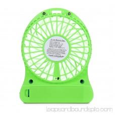 HarmonLLy Portable Rechargeable LED Light Fan Air Cooler Mini Desk USB 18650 Battery Fan White