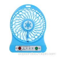 HarmonLLy Portable Rechargeable LED Light Fan Air Cooler Mini Desk USB 18650 Battery Fan Black
