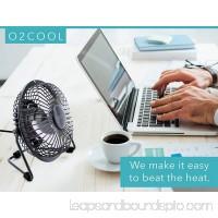 "O2COOL 4"" USB Personal Desk Fan – Portable Mini Table Cooling Fan - Plugs into Computer - Adjustable 360° Tilt, Quiet, Rubber Grip Feet - Black"