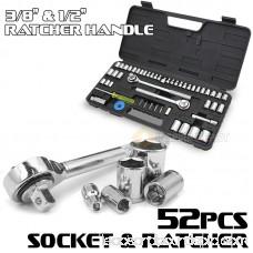 1/4 3/8 1/2 Mechanics Spark Drive Ratchets & Metric Sockets SAE Tool Set with Case, 52PC