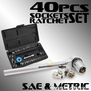 1/4 3/8 8-Point Drive Ratchet Metric Sockets Hand SAE Tool Set with Case, 40PC