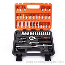 53pcs Automobile Motorcycle Repair Tool Case Precision Ratchet Wrench Sleeve Universal Joint Hardware Kit