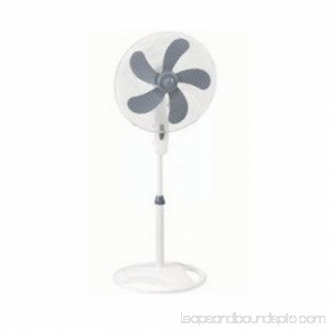 16 Oscillating Stand Fan 5 Blade- Silver