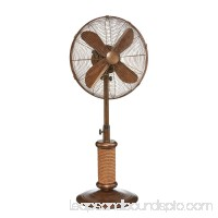 "50"" Copper Finished Nautical Inspired Metal Oscillating 3-Speed Outdoor Pedestal Fan"