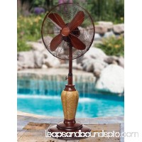 "50"" Tropical Akupu Wicker Pattern Adjustable Oscillating Outdoor Standing Fan"