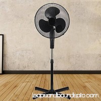Black 16 High Velocity Standing Floor Fan with 3-Speed Oscillation and Adjustable Height 556259783