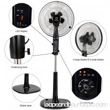 Costway Fantask 16'' Oscillating Pedestal Fan 2 Mode Adjustable Remote Control 2 Blades
