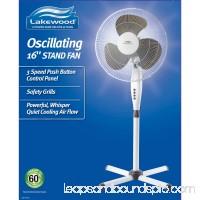 "Lakewood 16"" Three-Speed Oscillating Pedestal Fan, Three Speed, Metal/Plastic, Black   554476209"