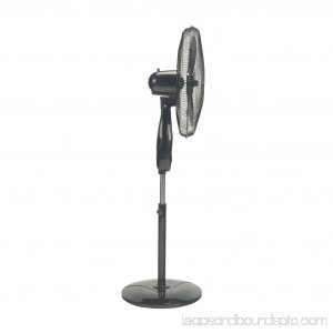 Optimus 18 Oscillating Stand 3-Speed Fan, Model #F-1872BK, Black with Remote 552903412